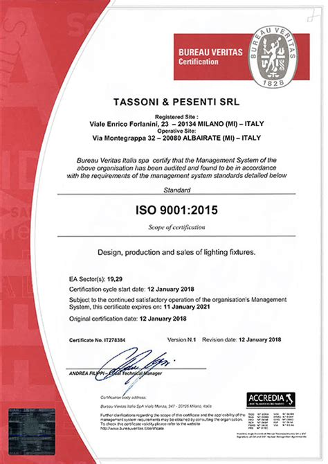 bureau veritas italy certifications tassoni pesenti