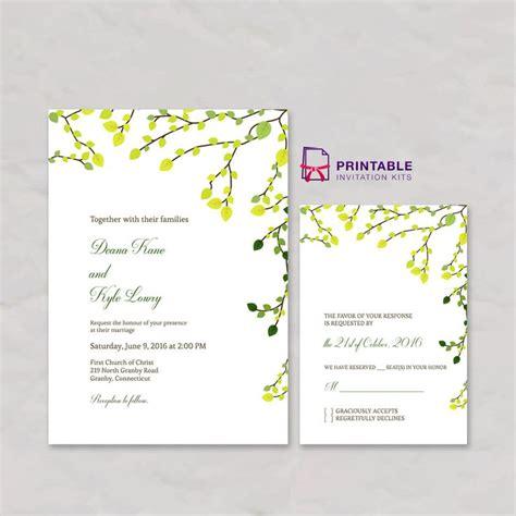 greenery invitation  rsvp set  printable