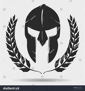 Spartan Warrior Helmet Silhouette Laurel Wreath Stock ...