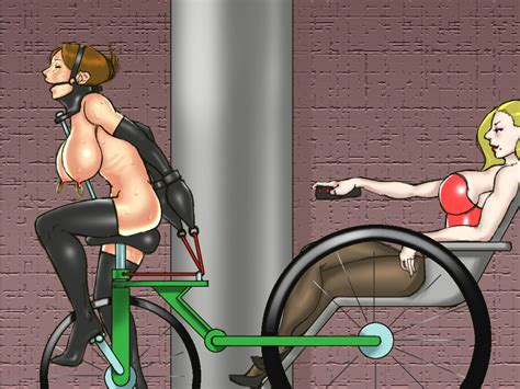 2girls Bdsm Bicycle Bondage Bound Breasts Brown Hair