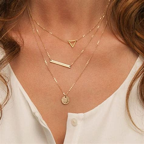 summer multilayer necklaces triangle