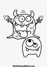 Cute Monsters Drawing Monster Coloring Pages Funny Moshi Getdrawings sketch template
