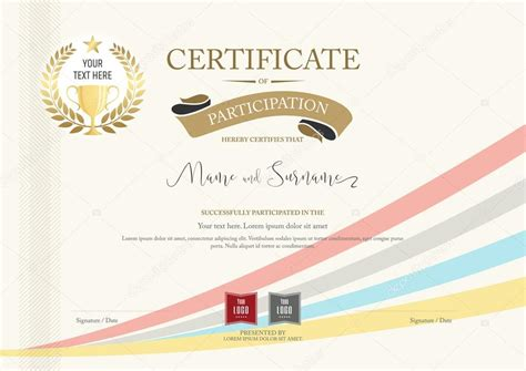 certificate templates with photos certificate of participation template with golden award