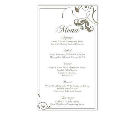 wedding menu template diy menu card template editable text