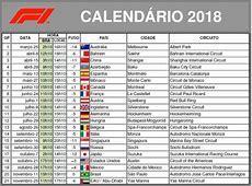 CALENDÁRIO 2018 – MUNDIAL DE F1 PALPITEIRO BRASILEIRO