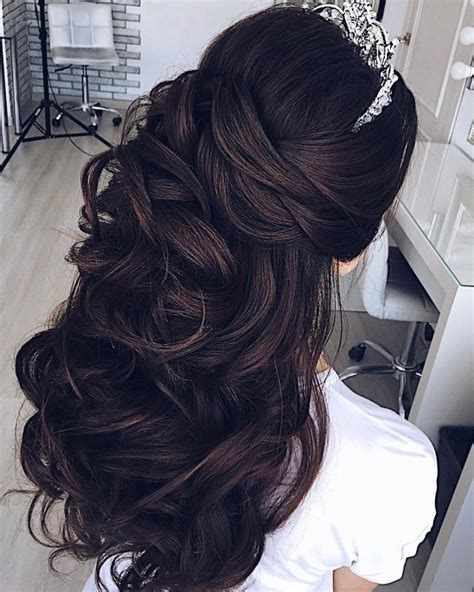 wedding hairstyle partial updo bridal