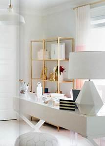 Ikea Vittsjo shelves spray painted gold - IKEA DECOR'S