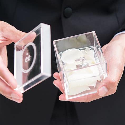acrylic wedding ring box monogram simplicity etching the knot shop
