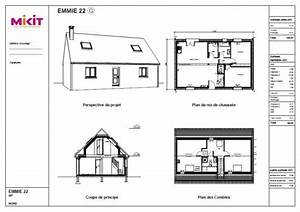 emmie mikit With beautiful plan maison en l 100m2 4 plan maison mikit 4 chambres
