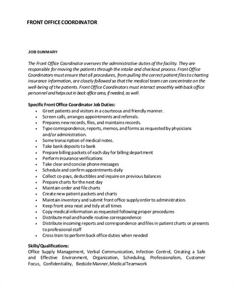 front desk officer duties and responsibilities sle job description 10 exles in pdf word