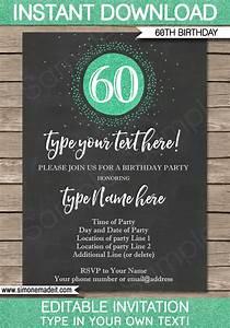 60th Birthday Invitation Template Chalkboard & Green Glitter