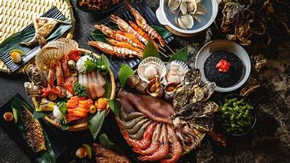 Seafood Fish Shrimp Buffet Dinner Wallpapers Background