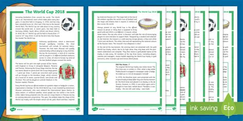 * New * Uks2 The World Cup 2018 Differentiated Reading