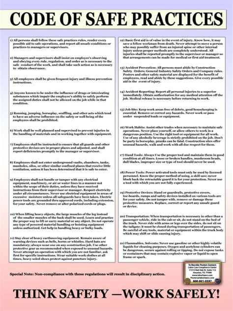 code of practice templates for an it industry code of safe work practices poster