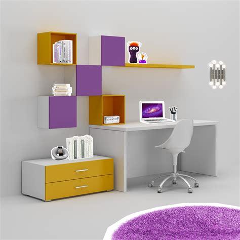 bureau ado avec rangement bureau enfant trés coloré moderne compact