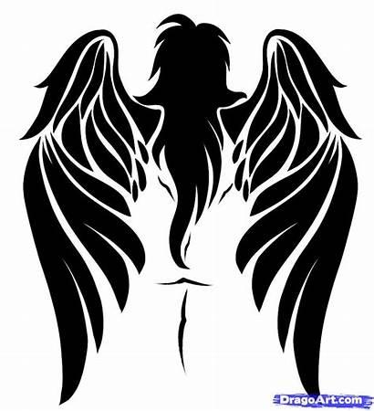 Tribal Angel Draw Wings Tattoo Step Drawing