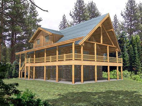 quiet meadows raised log home plan   house plans