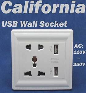 Ac 110 To 250 Volt Dock Power Outlet With Dual Usb Wall Charger Socket Station