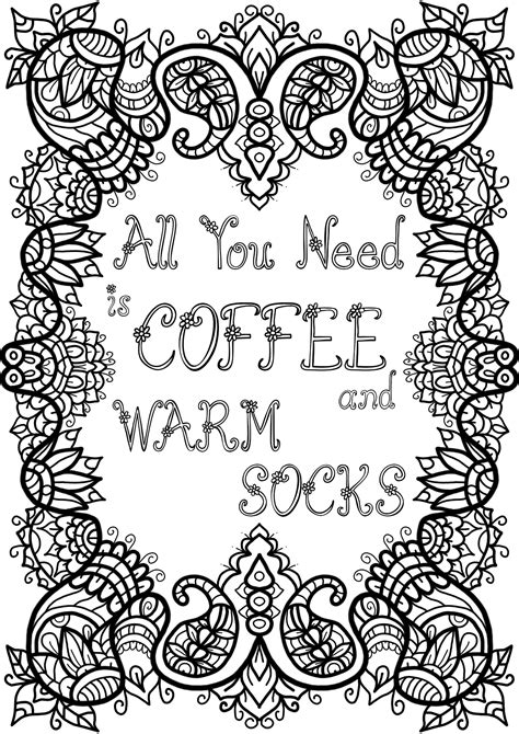 Or if you want to give this as a gift for the coffee lover in your life get the print version here or here. Free Colouring Page - Coffee and Warm Socks by WelshPixie on DeviantArt