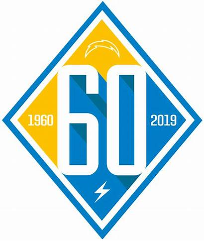 Chargers Angeles Anniversary Logos Sticker Iron 60th