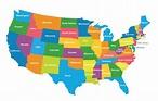 USA Political Map (Colored Regions Map) | ePhotoPix