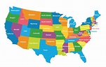 USA Political Map (Colored Regions Map) | Mappr