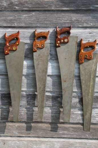 antique hand  lot   cross cut rip saws vintage