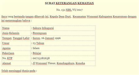 contoh surat kematian surat keterangan kematian desa rt