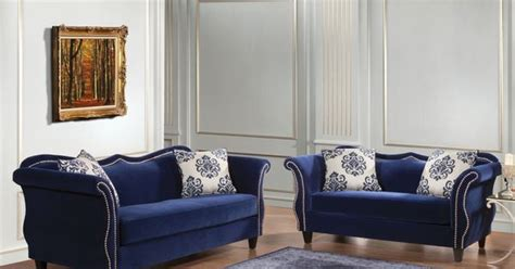 Shopping For Sofa Set by Furniture Of America Othello 2 Royal Blue Sofa Set