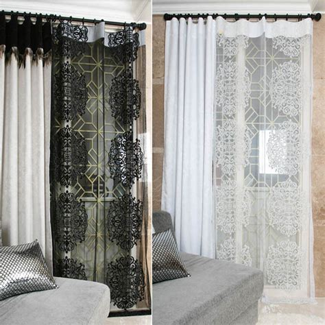 Black And Curtain Panels by Handmade Black White Classic Lace Sheer Single