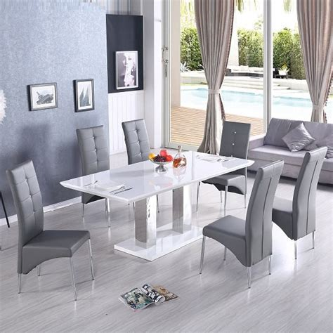White and beech wood legs features: Monton Extendable Dining Table In White With 6 Vesta Grey