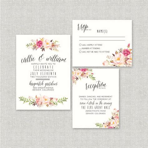 country feels template bohemian wedding invitation suite diy rustic chic