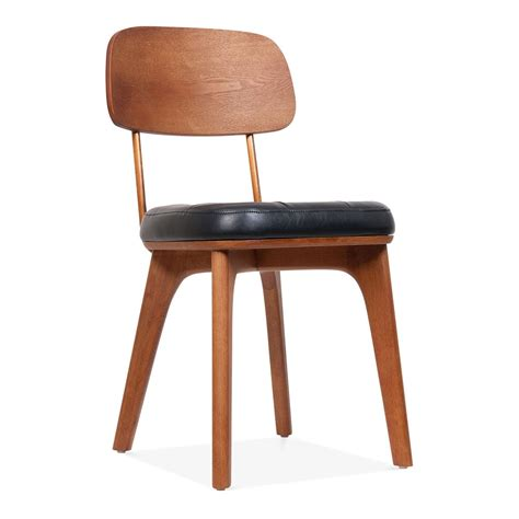 winchester upholstered wooden dining chair  black  walnut cult
