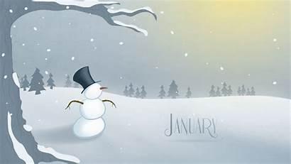 January Desktop Snowman Cartoon Calendar Hello Timeline