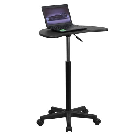 mobile laptop desk cart height adjustable mobile laptop computer desk with black