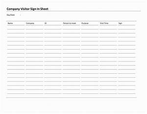 company visitor sign in sheet With vendor sign in sheet template
