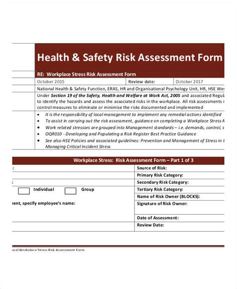 21790 risk assessment form sle sle health risk assessment health and safety risk free