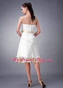 strapless short white and champagne princess wedding gown With white and champagne wedding dress