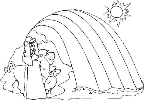Noahs Ark Coloring Pages With Rainbow 2531016