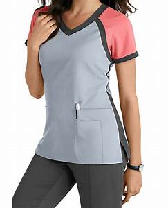 Grey's Anatomy 3 Pocket Color Block V-neck Scrub Tops ...