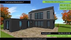 plan et photo de maison avec etage ossature bois par architecte constructeur