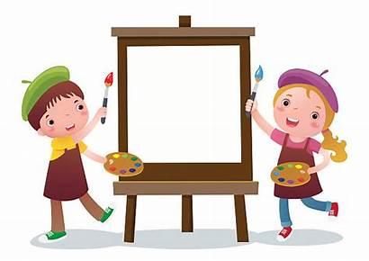 Cartoon Canvas Painting Easel Vector Clip Artist