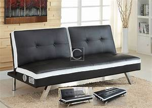 Black white leatherette futon sofa bed wireless for Sofa bed with speakers