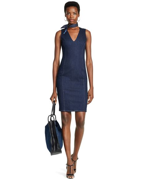 how to clean cotton upholstery polo ralph denim sheath dress in black lyst