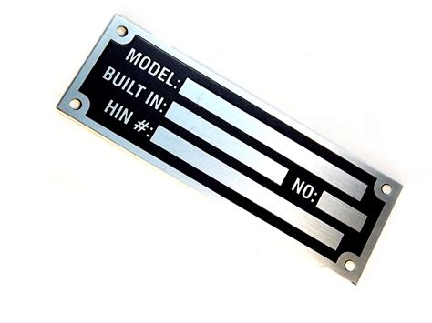 Boat Manufacturers Plate by Anodized Aluminium Custom Manufacturer Etched Hin Name