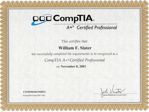 william  slater iii professional certifications