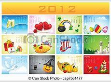 2012 holiday calendar Illustration of complete calendar