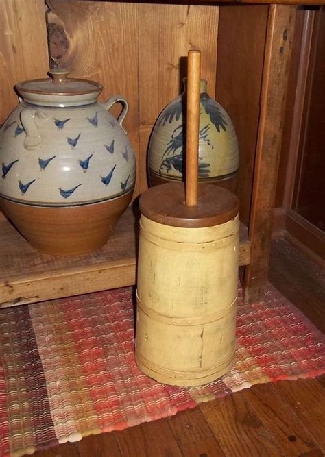 wooden high primitive wooden butter churn mustard original lid