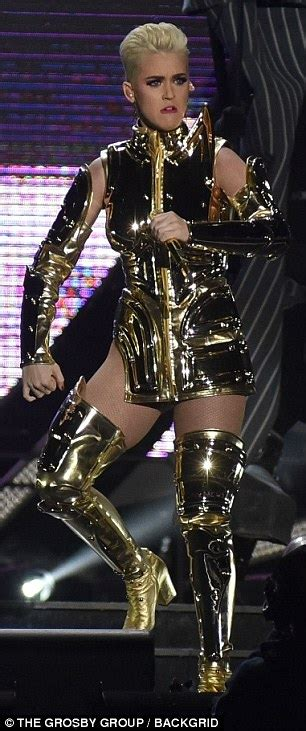 katy perry dazzles   gold costume   performs