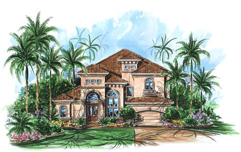 Two Story Mediterranean House Plan 66010WE